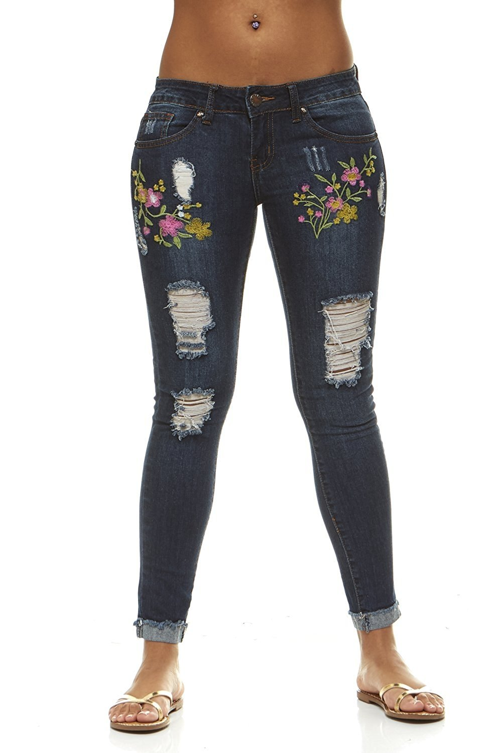 Women's Classic or Ripped Skinny Jeans With Floral or Studs In Light and Dark Washes