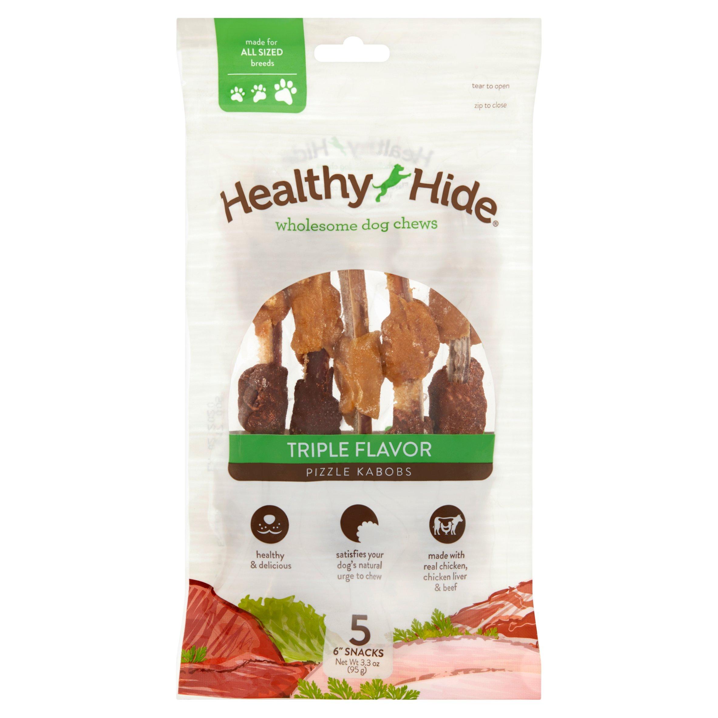 Healthy Hide Triple Flavor Pizzle Kabob Dog Chew, 5-Count
