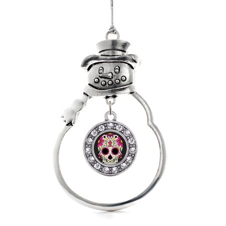 Sugar Skull Circle Snowman Holiday Ornament - Skull Ornaments