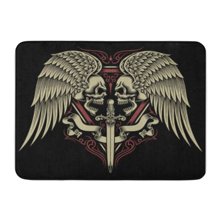 Tribal Sword (KDAGR Tattoo Two Faced Skull Wings and Sword Tribal Crest Doormat Floor Rug Bath Mat 30x18 inch )