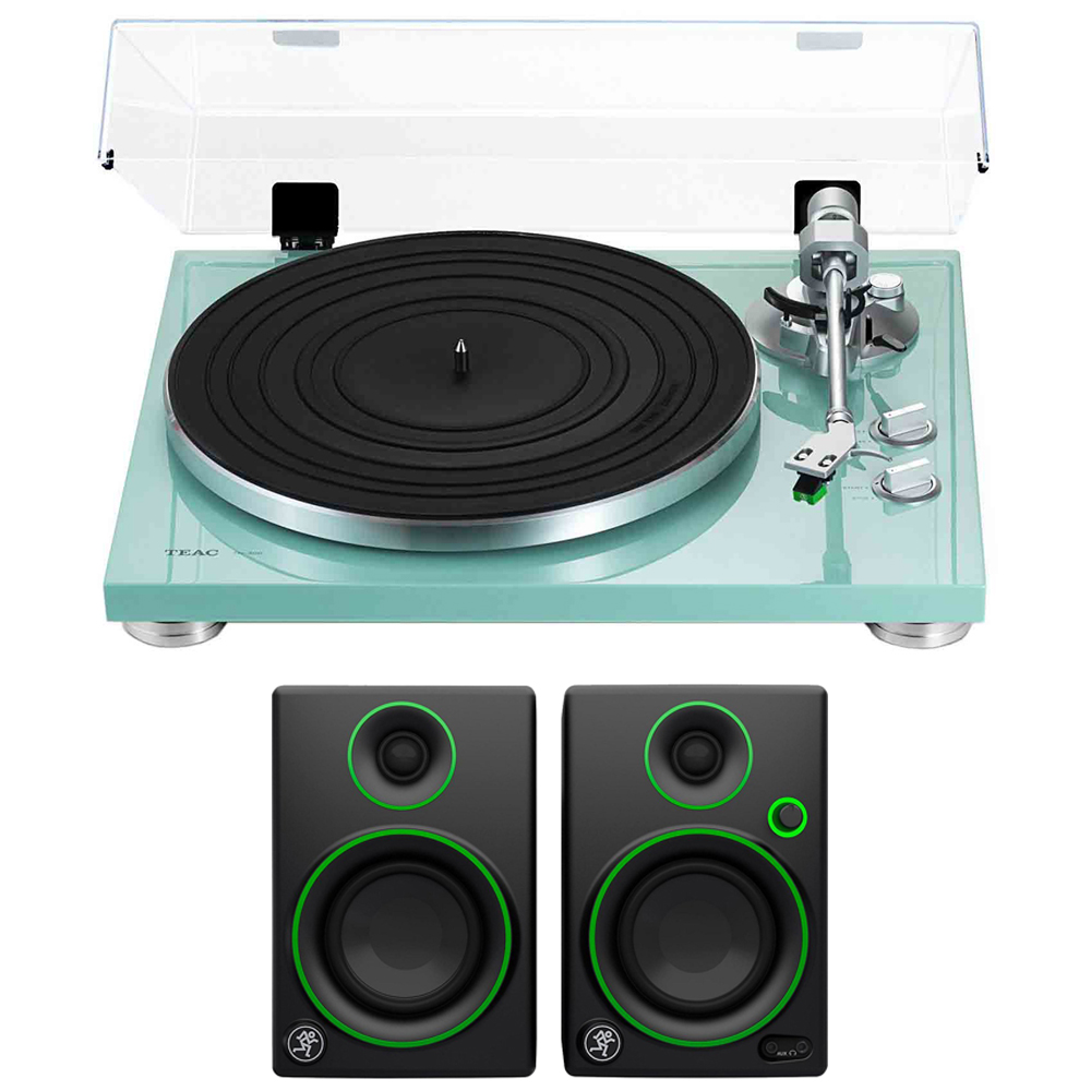 """Teac 2-Speed Analog Turntable Turquoise (14-TN-300-TB) with 3"""" Creative Reference Multimedia Monitors Pair by TEAC"""