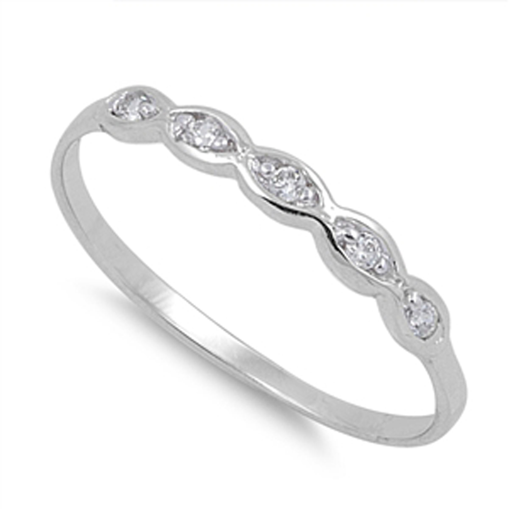Women's Simple Wedding Band White CZ Cute Ring ( Sizes 1 2 3 4 5 6 7 8 9 10 ) .925 Sterling Silver Rings by Sac Silver (Size 7)