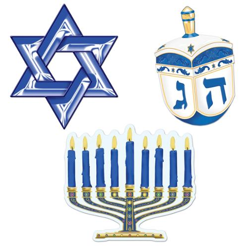Club Pack of 12 Blue, White and Gold Hanukkah Cutout Decorations 9.5""