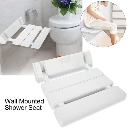 HURRISE Wall Mounted Drop-leaf Shower Seat Foldable Bathroom Bench for Home Sauna Room Use White, Drop-leaf Shower Seat, Foldable Shower
