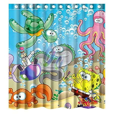 DEYOU Carton Anime Spongebob Shower Curtain Polyester Fabric ...