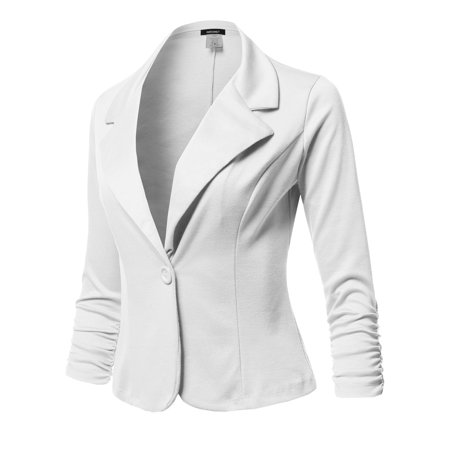 Buttoned Blazer - FashionOutfit Women's Solid Formal Button Up Shirring Sleeves Blazer - Made in USA
