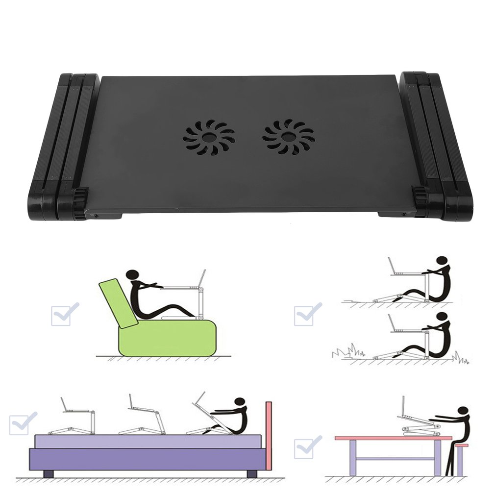 Computer Desk Portable 360 Adjustable Folding Laptop Notebook Table Stand Tray Desk With Double Vents Mouse Board For Sofa Bed Carpet Lawn Black