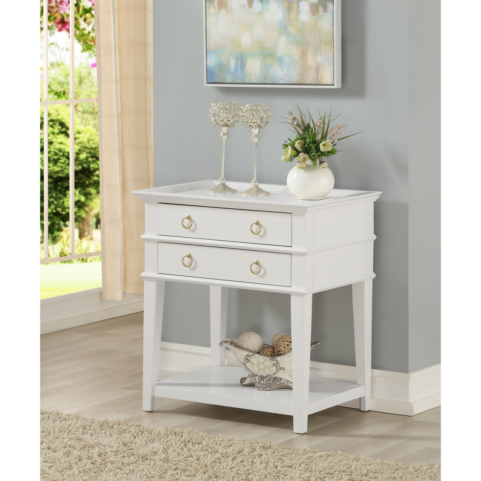 Comfort Pointe Clara White 2 Drawer Tray Top Nightstand