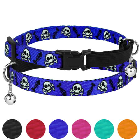 Breakaway Cat Collar Skull Print Safety Collars for Cats Kitten with Bell Elastic Strap Adjustable Size 7-11 Inch, Blue