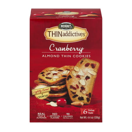 (2 Pack) Nonni's THINaddictives Cranberry Almond Cookies, 4 oz, 6-pack