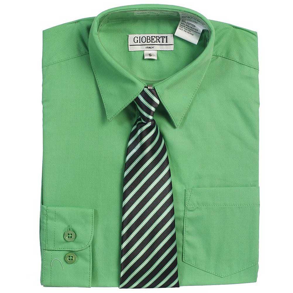 Green Button Up Dress Shirt Black Striped Tie Set Boys 5-18
