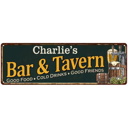 Old Tavern Sign - Charlie's Bar and Tavern Green Chic Sign Home Man Cave Décor 6x18 8240003381