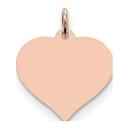 14k Rose Gold Rose Heart Disc Pendant / Charm - image 1 de 1