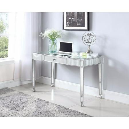 Elegantly Charmed Mirror Finish Writing Desk, Silver (Mirrored Writing Desk)