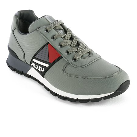- Prada Men's Leather Fabric Low Top Sneaker Shoes Olive Green
