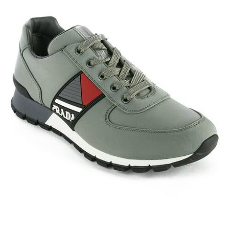 Prada Men's Leather Fabric Low Top Sneaker Shoes Olive - Prada Designer Shoes