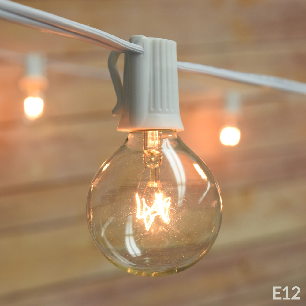 Fantado 50 Socket Outdoor Patio String Light Set, G40 Clear Globe Bulbs, 51 FT White Cord w  E12 C7 Base by... by Asian Import Store, Inc.