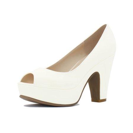 Unique Bargains Women's Peep Toe Chunky Heel Platform Patent Pumps (Front Platform Black Pump)