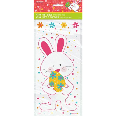 Happy Easter Bunny Cellophane Bags, 20-Count - Easter Bag