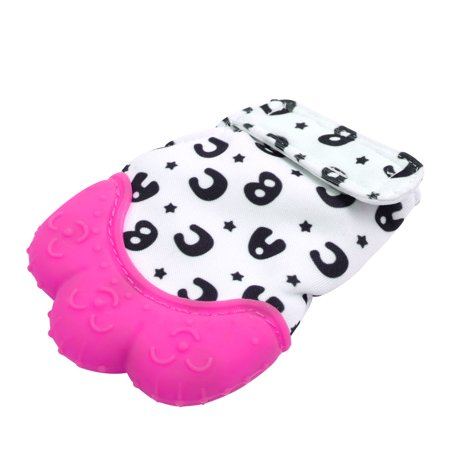 Silicone Baby Teething Mitten Candy Color Grind Teeth Glove Protecting Product with Cute Pattern and Wrapper Sound Teether