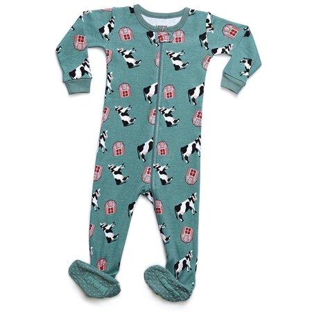3d9423984d Leveret - Leveret Organic Cotton Cow Footed Pajama Sleeper 6-12 Months -  Walmart.com