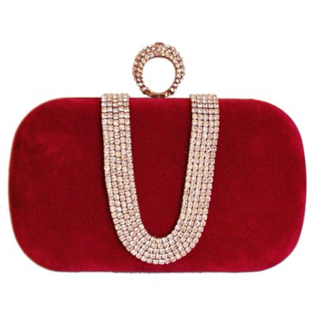 (Chicastic Red Suede Velvet Rhinestone Stud One Ring Knuckle Duster Evening Cocktail Clutch Bag)