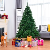 Costway 6FT/7.5FT/9FT PVC Christmas Tree Hinged Solid Metal Legs
