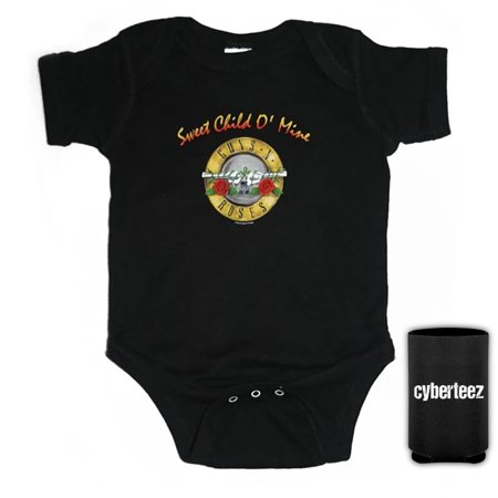 Guns N Roses T-Shirt Sweet Child Of Mine Bullet Seal Logo Infant Bodysuit Onesie + Coolie