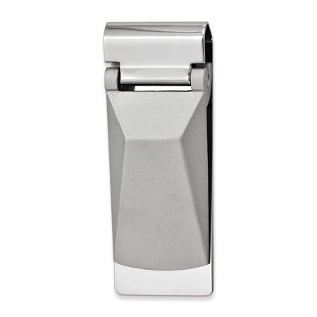 Silver-tone Angled Top Hinged Money Clip