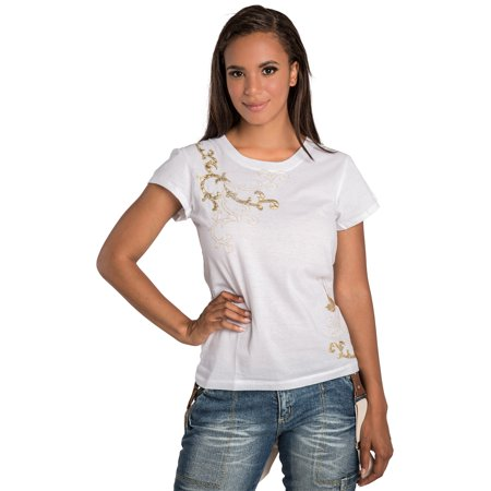 Sweet Vibes Junior Womens T-Shirt White Stretch Jersey Crew Neck Gold Foil Print (Womens Junior Tee)