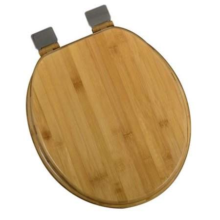 Plumbing Technologies 5F1R1-20BN Decorative Wood Round Front Toilet Seat with Brushed Nickel Hinges, Rattan Bamboo