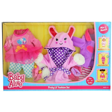 Baby Alive Pretty Lil Fashion Clothing Set – Features 3 Outfits, Makes Perfect Accessories for your 12-14†Dolls (Alice Outfit)