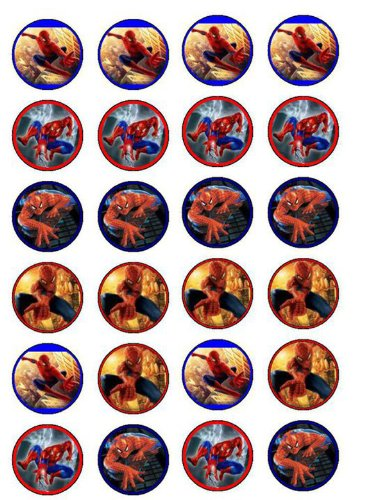 image regarding Free Printable Cupcake Wrappers and Toppers With Spiderman identify 24 Spiderman Cupcake Toppers