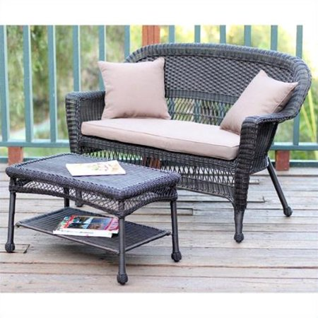 Jeco Wicker Patio Love Seat and Coffee Table Set in Espresso with Brown Cushion