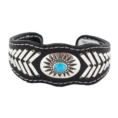 Rare $400 Retail Tag Authentic .925 Sterling Silver Handmade Navajo Made by Frank Armstrong Natural Turquoise Native American Leather Bracelet