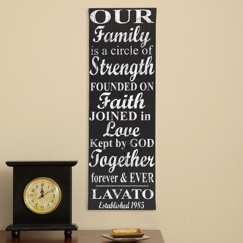 "Personalized Our Family Circle 9"" x 27"" Canvas"