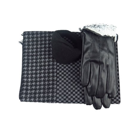 Mens Black Leather insulated Pu Gloves & Silk Blend Scarf with Adjustable windproof Ear Warmer