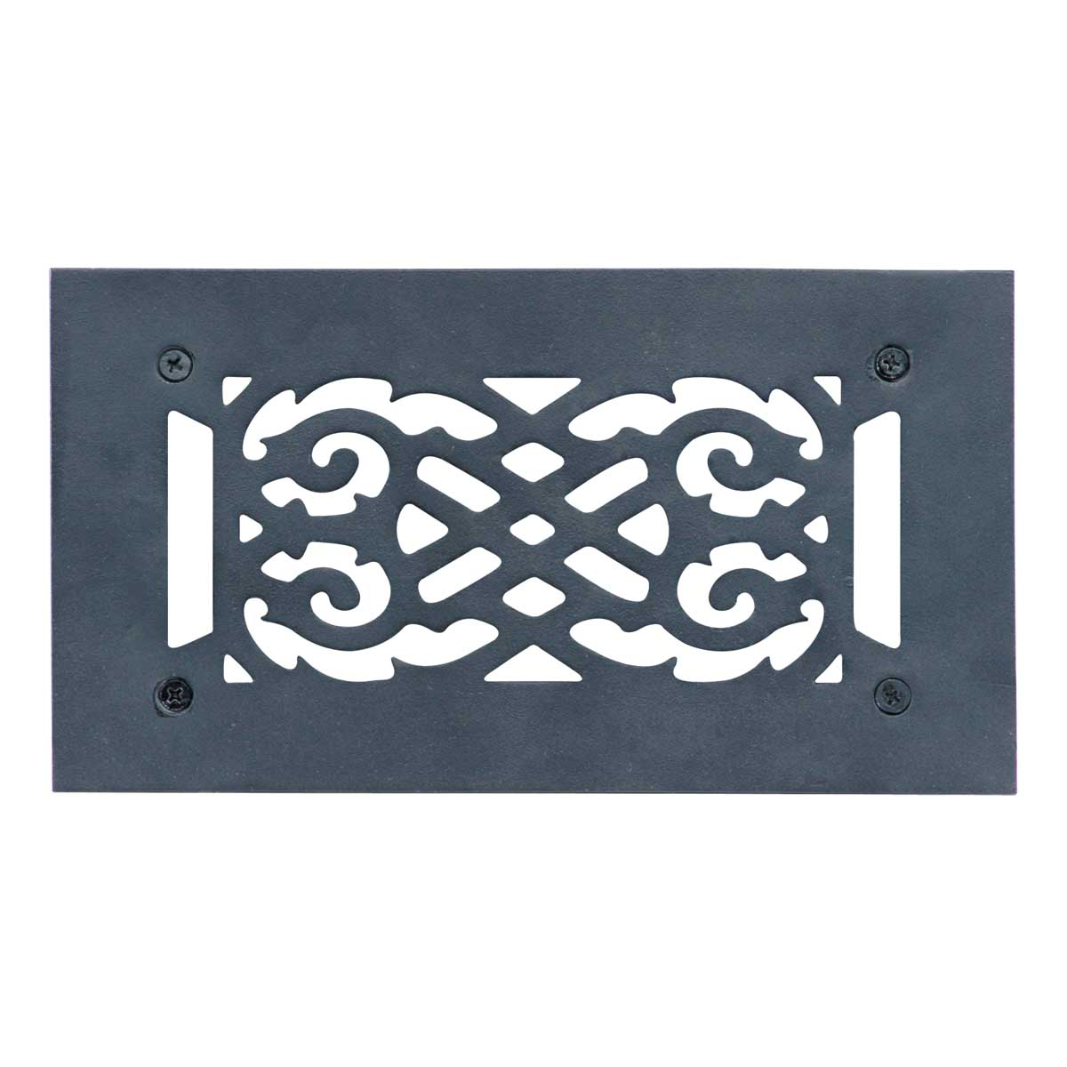 """Heat Air Vent Grille Cast Aluminum Victorian 5.5"""" x 10"""" Overall"""