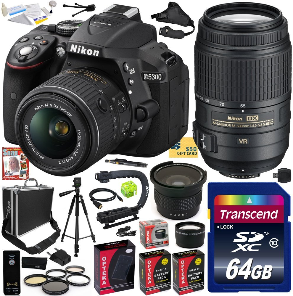 Nikon D5300 24.2 MP CMOS Digital SLR Camera with 18-55mm f/3.5-5.6G ED VR II AF-S DX NIKKOR Zoom Lens & AF-S NIKKOR 55-300mm f/4.5-5.6G ED VR Zoom Lens (Black) (1522) with 64GB SD Memory Card and More