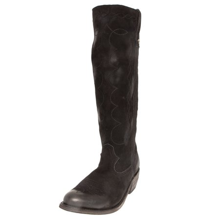 Liberty Black Womens Ladies  Nubuck Grease Black Riding Boot