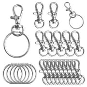 """50 Pack Metal Swivel Lobster Claw Clasp Lanyard Snap Hook 1.25"""" x 0.5"""" with 50 Key Rings - Jewelry Findings Or Sewing Projects"""