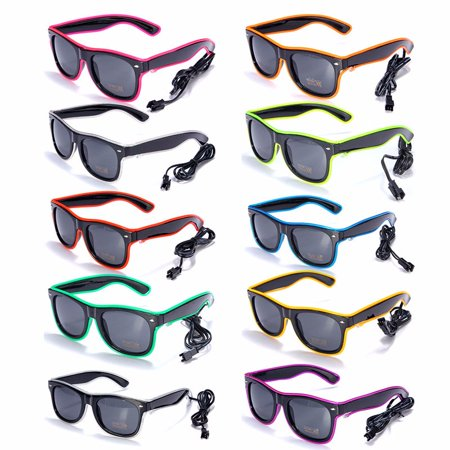 Light up LED Sun Glasses Wire Fashion Neon Luminous  Club Party Frame Eyewear Sunglasses - Led Sunglasses Wholesale