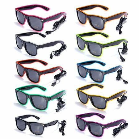 Neon Plastic Sunglasses (Light up LED Sun Glasses Wire Fashion Neon Luminous  Club Party Frame Eyewear)