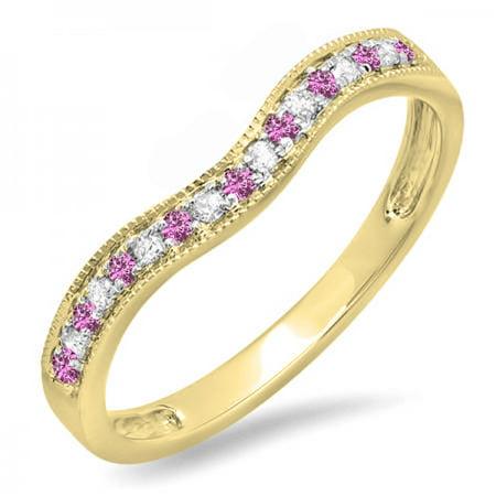 Dazzlingrock Collection 14K Pink Sapphire & White Diamond Ladies Anniversary Wedding Band Guard Ring, Yellow Gold, Size 9 ()