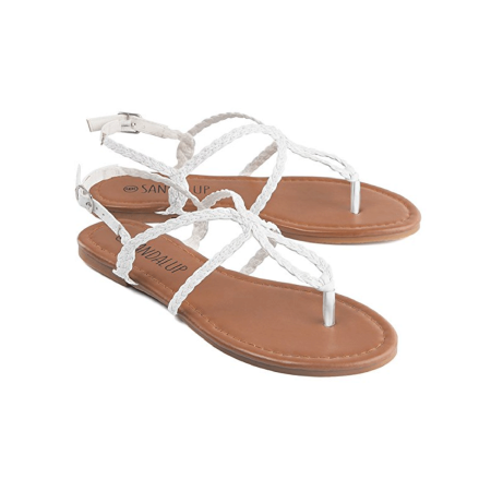 e9ab1fc874c8 Sandlup - Black   White   Brown Flat Sandals with Buckle Slippers ...