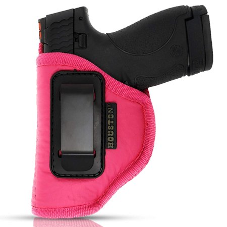 IWB Woman Pink Gun Holster - Houston - ECO Leather Concealed Carry: Compacts Like Glock 26/27/33, S&W Shield/MPc,XDS,Taurus 709 / ProC,Walther P22,Beretta Nano,SCCY Sky,Ruger LC9 (Left) (Ruger Sr22 Vs Walther P22 Vs M&p 22)