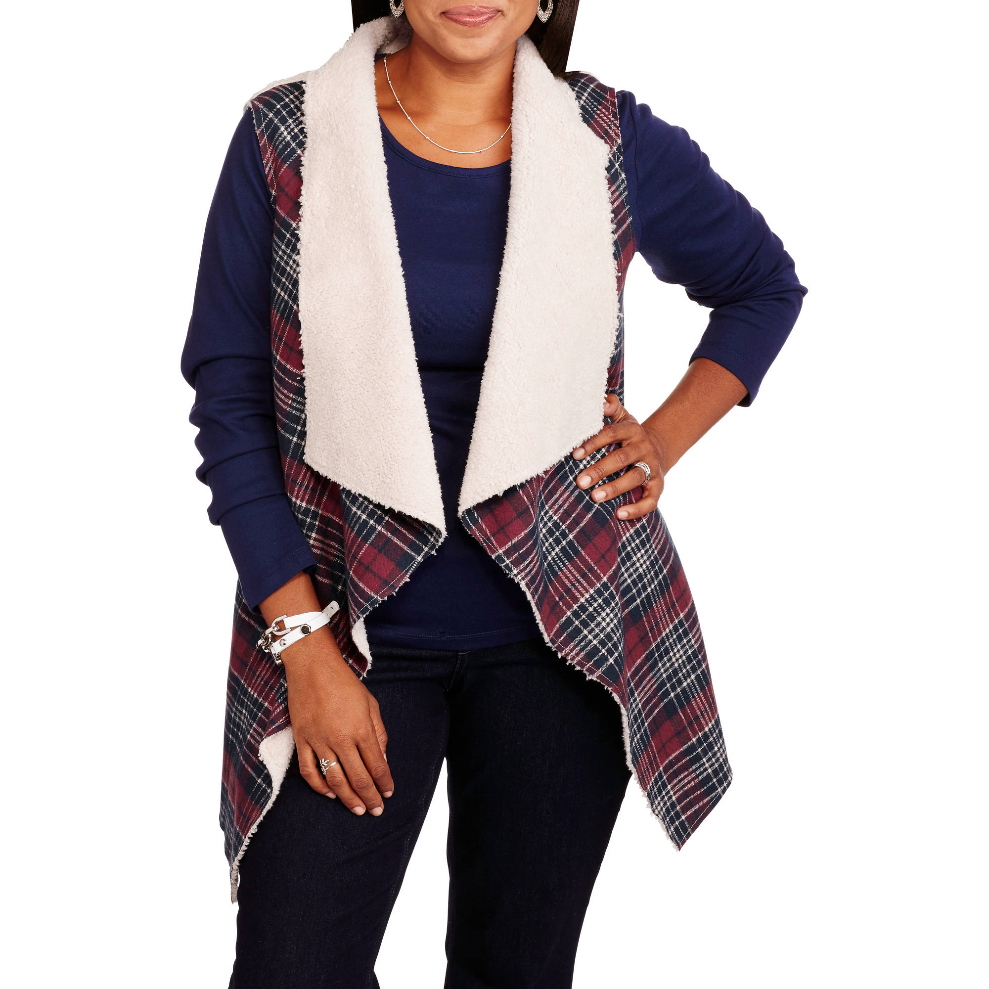 Concepts Women's Plus Plaid Shearling Vest