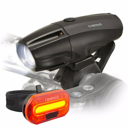 Lumintrail Super Bright Bike Light USB Reable 1000 Lumen LED Safety Commuter Headlight Taillight Set Easy Install and Quick