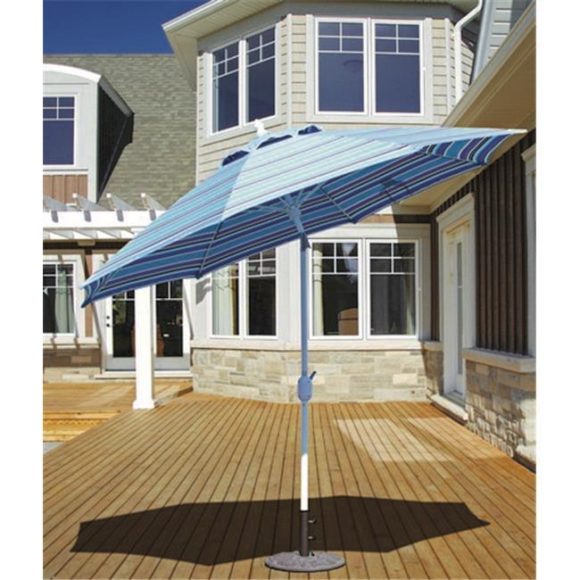 Galtech 9 ft. White Standard Auto Tilt Umbrella - Bay Brown Sunbrella