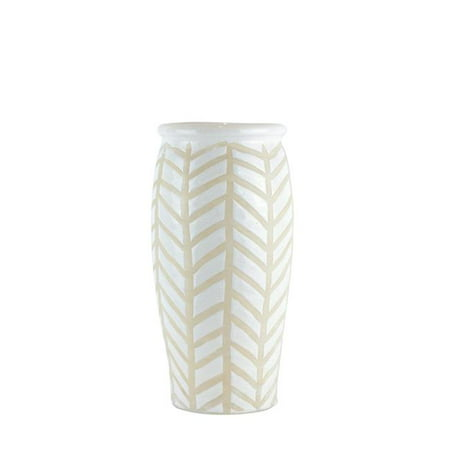 Benzara BM188107 Crackled Textured Ceramic Table Vase with Geometric Pattern - White & Beige - Large